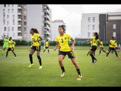 Members of the Reggae Girlz during a training session at the just-concluded Women's World Cup in France.