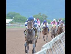 Crack two-year-old colt WOW WOW (Ameth Robles) powers to victory in the Bearing and Acessories Trophy race at Caymanas Park on October 26, 2019.