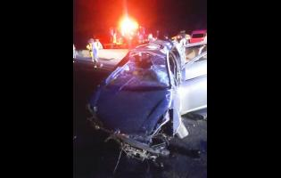The motor car in which three men lost their lives early Sunday morning.