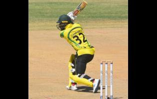 Jamaica Scorpions' John Campbell plays a shot during his knock of 88 runs against the Trinidad and Tobago Red Force in the semi-final of the Regional Super50 competition yesterday.