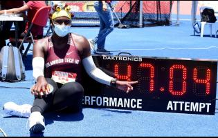 Cedricka Williams (Holmwood) celebrates her record discus throw of 47.04m, to win the girls Class Two discus event at the ISSA/GraceKennedy Boys and Girls' Athletics Championships, held at the National Stadium on Wednesday, May 12, 2021.