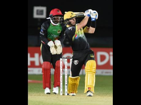 Jamaica Tallawah batsman Glen Phillips hits a six during his innings of 85 against the St Kitts and Nevis Patriots in a Caribbean Premier League (CPL) cricket match at Sabina Park on Thursday, September 19, 2019.